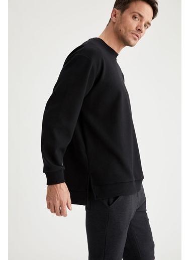 DeFacto Oversize Fit Bisiklet Yaka Basic Sweatshirt Siyah
